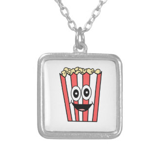 popcorn smiling silver plated necklace
