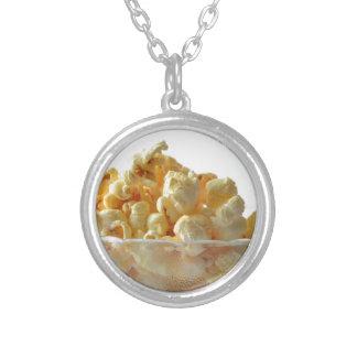 popcorn snack food movie night round pendant necklace