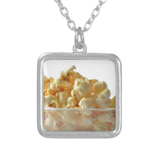 popcorn snack food movie night silver plated necklace