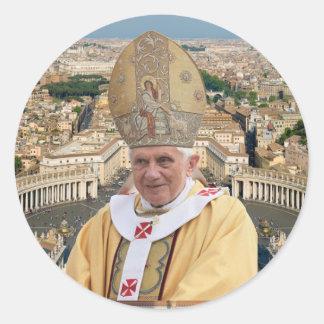 Pope Benedict XVI with the Vatican City Round Sticker