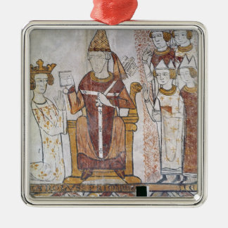 Pope Clement IV Investing Charles of Anjou Silver-Colored Square Ornament