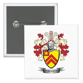 Pope Family Crest Coat of Arms 2 Inch Square Button