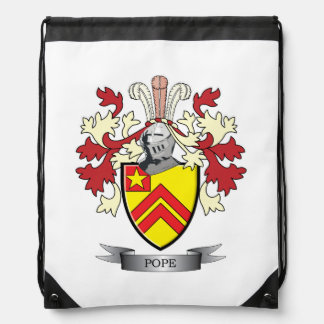 Pope Family Crest Coat of Arms Drawstring Bag
