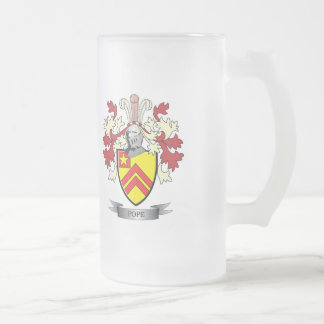 Pope Family Crest Coat of Arms Frosted Glass Beer Mug