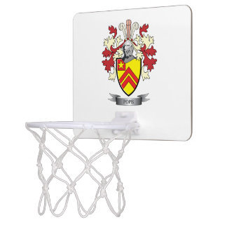 Pope Family Crest Coat of Arms Mini Basketball Hoop
