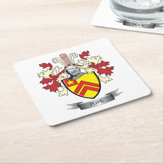 Pope Family Crest Coat of Arms Square Paper Coaster