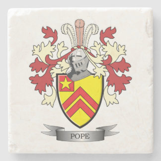 Pope Family Crest Coat of Arms Stone Coaster