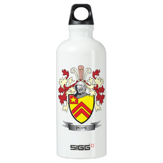 Pope Family Crest Coat of Arms Water Bottle