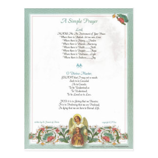 pope francis=st. francis simple prayer=angel postcard
