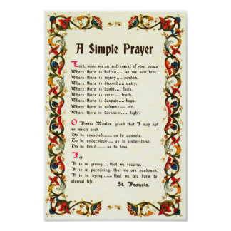 Pope Francis St. Francis SIMPLE PRAYER Poster