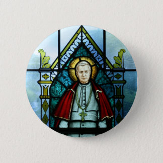 Pope Saint Pius X Stained Glass Art 2 Inch Round Button