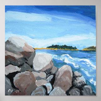 Popham Beach rocks print, A.H. '09