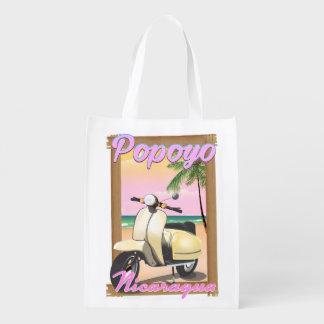Popoyo Nicaragua beach travel poster Reusable Grocery Bag