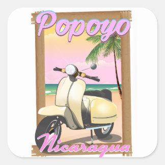 Popoyo Nicaragua beach travel poster Square Sticker