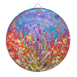 Poppies Abstract Meadow colorful painting  canvas Dartboard