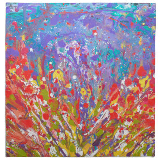 Poppies Abstract Meadow colorful painting  canvas Napkin
