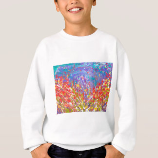 Poppies Abstract Meadow colorful painting  canvas Sweatshirt