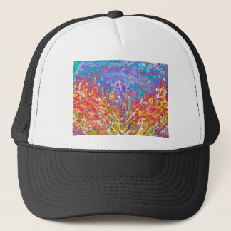 Poppies Abstract Meadow colorful painting  canvas Trucker Hat