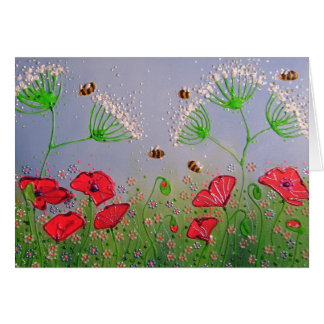 Poppies and Bees Card