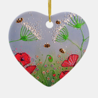 Poppies and Bees Ceramic Heart Ornament