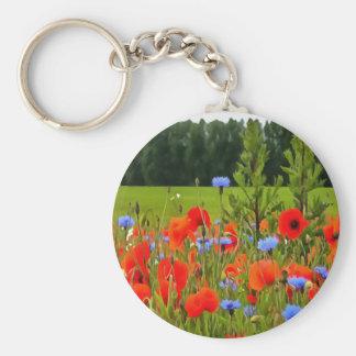 Poppies And Cornflowers Basic Round Button Keychain