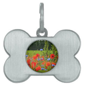 Poppies And Cornflowers Pet ID Tag