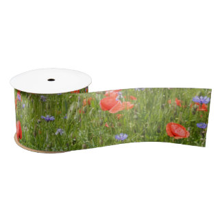 Poppies and Cornflowers Satin Ribbon