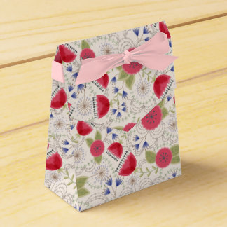 Poppies and dandelions vintage gift bag favor box