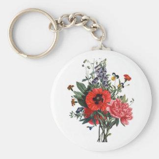 Poppies and Foxgloves Bouquet Basic Round Button Keychain