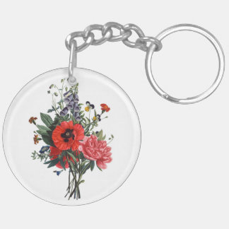 Poppies and Foxgloves Bouquet Double-Sided Round Acrylic Keychain