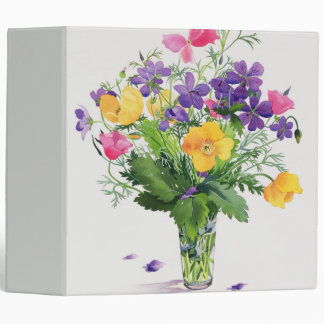 Poppies and Geraniums 3 Ring Binder