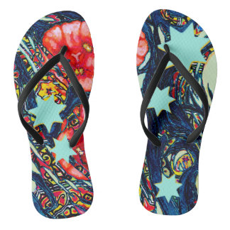 Poppies and stars modern colorful design flip flops