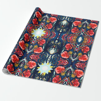 Poppies and Stars Pattern Wrapping Paper