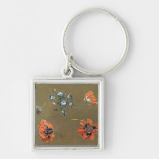 Poppies and Tradascanthus (oil on canvas) Keychain