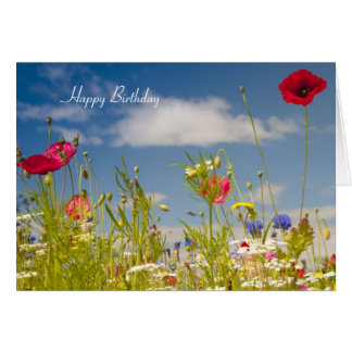 Poppies and Wildflowers Birthday Card