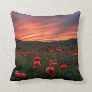 Poppies at Bamburgh Pillow/Cushion Throw Pillow