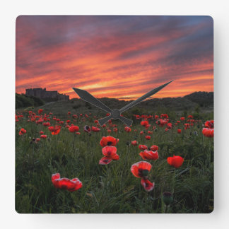 Poppies at Bamburgh Wall Clock