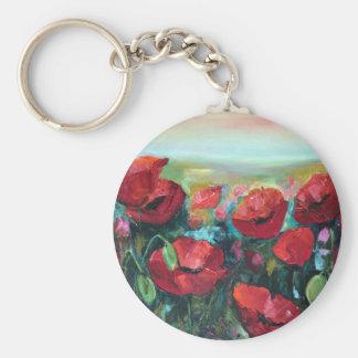 Poppies Basic Round Button Keychain