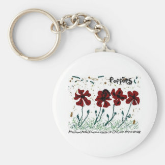 Poppies Basic Round Button Keychain