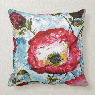 Poppies Bumblebee Floral Art Pillow 20x20