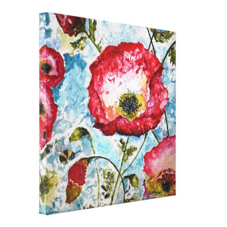 Poppies Bumblebee Watercolor Canvas Print 10x10
