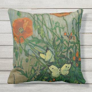 Poppies & Butterflies Van Gogh Fine Art Pillow