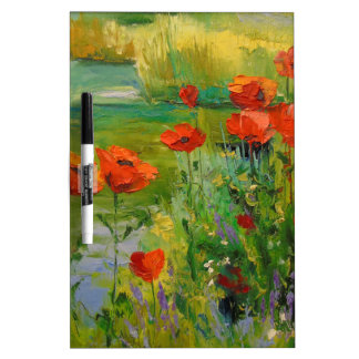 Poppies by the pond dry erase board