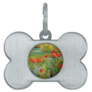Poppies by the pond pet tag