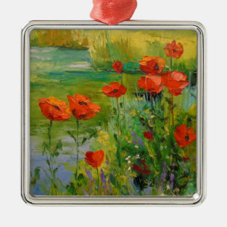 Poppies by the pond Silver-Colored square ornament