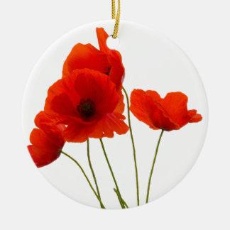 poppies ceramic ornament