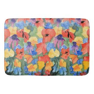 Poppies, Cyclamen and Echinacea Bath Mat