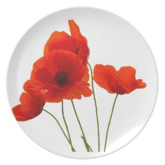 """Poppies"" design melamine plates"