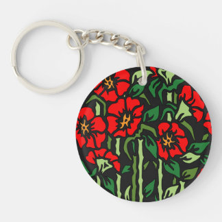 Poppies Double-Sided Round Acrylic Keychain