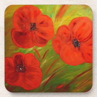 poppies drink coasters